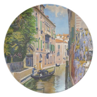 Vintage Grand Canal Gondolas Venice Italy Travel Plate