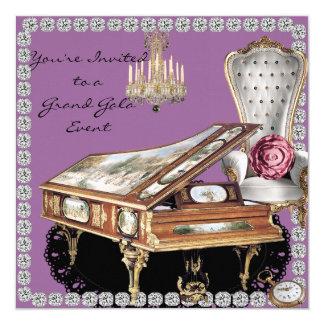 """Vintage Grand Piano MULTI PURPOSE  Invitation 5.25"""" Square Invitation Card"""