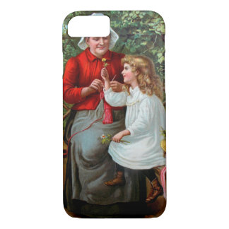 Vintage Grandmother and Granddaughter on Bench iPhone 7 Case