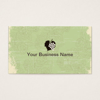 Vintage Grapes Green Floral Winery Business Card