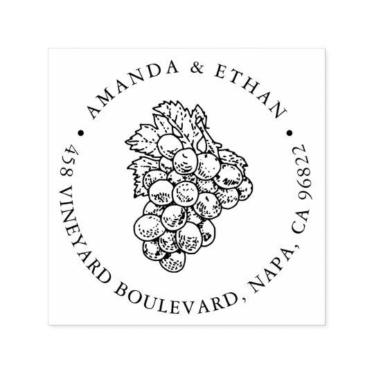 Vintage Grapes | Return Address Self-inking Stamp