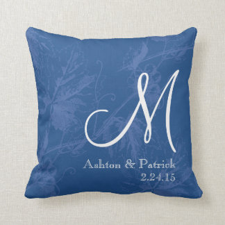Vintage Grapevine Blue Personalized Wedding Pillow