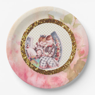 Vintage Graphics Rose and Baby Shower Paper Plates
