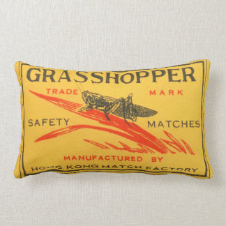 Vintage Grasshopper Safety Matches Label Lumbar Pillow