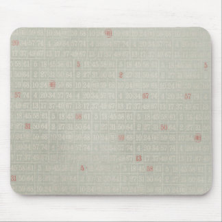 Vintage Gray Bingo Numbers Background Mouse Pads