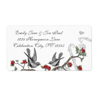 Vintage Gray Birds Red Flowering Branch Label