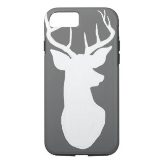 Vintage Gray Chalkboard White Stag Reindeer iPhone 7 Case