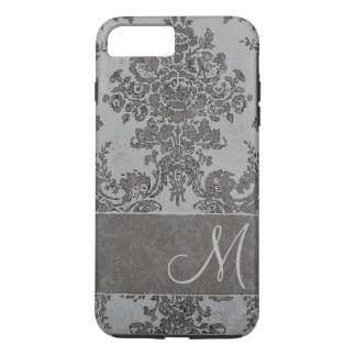 Vintage gray Damask Pattern with Monogram iPhone 8 Plus/7 Plus Case