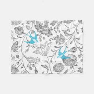 Vintage Gray Floral Aqua Vintage Birds Fleece Blanket