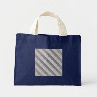 Vintage Gray Primitive Stripes Small Navy Mini Tote Bag