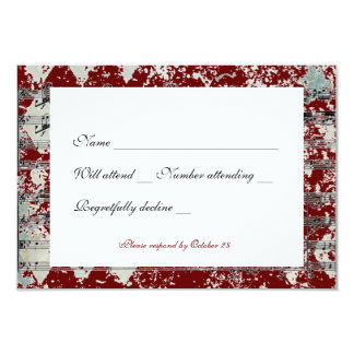 Vintage Gray Red Chevron Music rsvp with envelopes Card