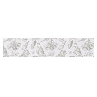 Vintage Gray Seashell Art Pattern Print Design Short Table Runner