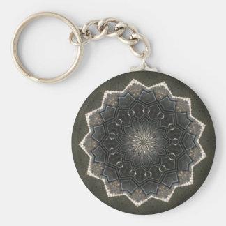 Vintage Gray Sunburst design Keychain