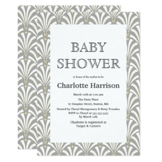Vintage Gray & White Art Deco Fans Baby Shower Card
