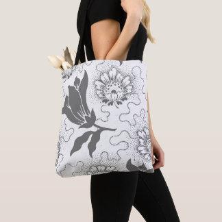 Vintage Gray White Large Floral Rustic Pattern Tote Bag