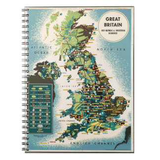 Vintage Great Britain Resources Map Spiral Notebook