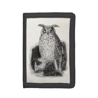 Vintage Great Horned Owl Bird Template Trifold Wallet