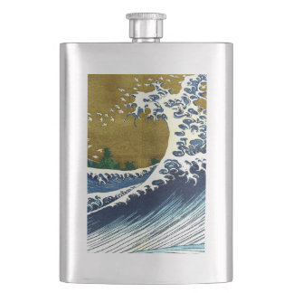 Vintage Great Wave Painting From 100 Views Of Fuji Flask