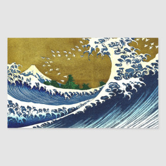 Vintage Great Wave Painting From 100 Views Of Fuji Rectangular Stickers
