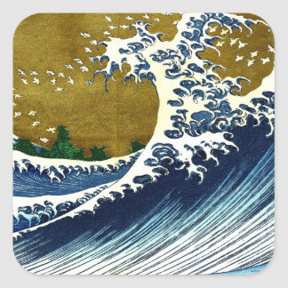 Vintage Great Wave Painting From 100 Views Of Fuji Sticker