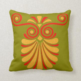 Vintage Greco-Roman Funky Owl Graphic Design Throw Pillow