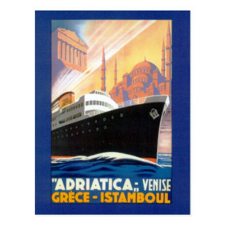 Vintage Greece and Istanbul Ocean Liner Travel Postcard