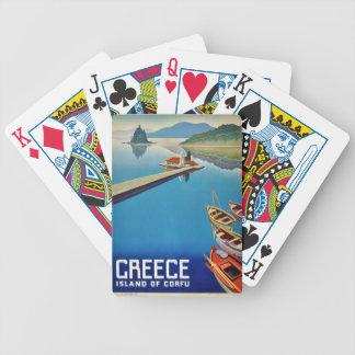 Vintage Greece Travel - Island of Corfu Bicycle Playing Cards