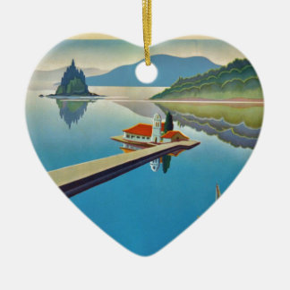 Vintage Greece Travel - Island of Corfu Ceramic Heart Ornament