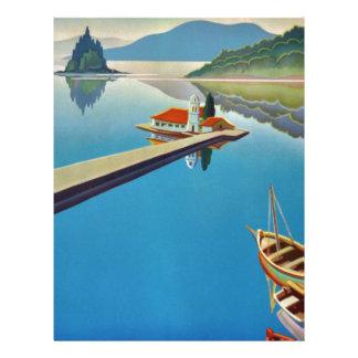 Vintage Greece Travel - Island of Corfu Letterhead Template
