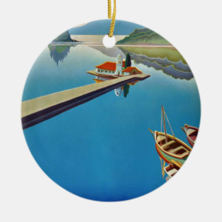 Vintage Greece Travel - Island of Corfu Round Ceramic Ornament