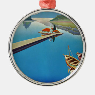 Vintage Greece Travel - Island of Corfu Silver-Colored Round Ornament