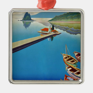 Vintage Greece Travel - Island of Corfu Silver-Colored Square Ornament