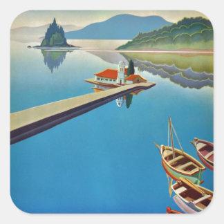 Vintage Greece Travel - Island of Corfu Square Sticker