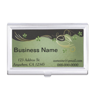 Vintage Green and Black Floral | Personalize Business Card Holder