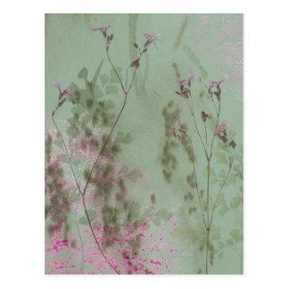 Vintage Green and Purple Flowers Postcard