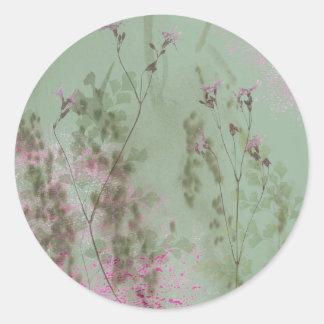 Vintage Green and Purple Flowers Round Sticker