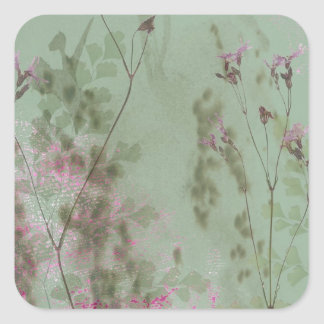 Vintage Green and Purple Flowers Square Sticker