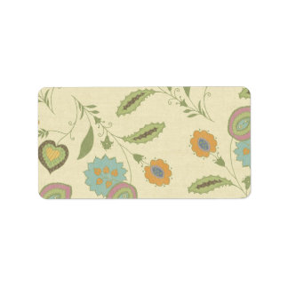 Vintage Green And Yellow Floral Pattern Label