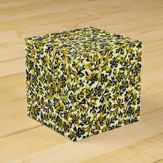 Vintage Green and Yellow Leaf Flower Endpaper Wedding Favor Box