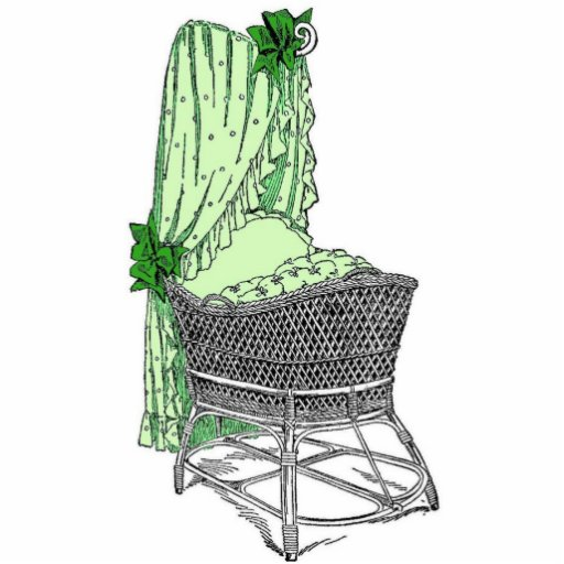 Vintage Green Baby Bassinet Acrylic Cut Outs