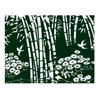 Vintage Green Bamboo Forest Illustration Postcard