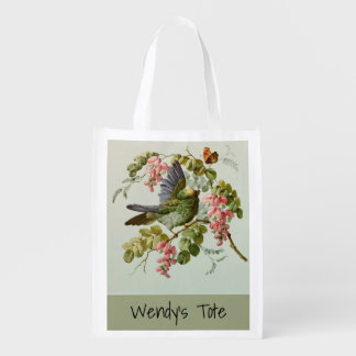 Vintage Green Bird and Pink Flowers Custom Reusable Grocery Bag
