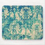 VIntage  Green Blue Floral  Damask Mousepads