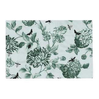 Vintage Green Botanical & Bugs Floral Toile Laminated Place Mat