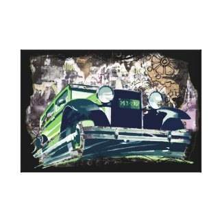 Vintage Green Car Canvas Print