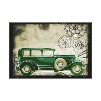 Vintage Green Car Illustration Canvas Print