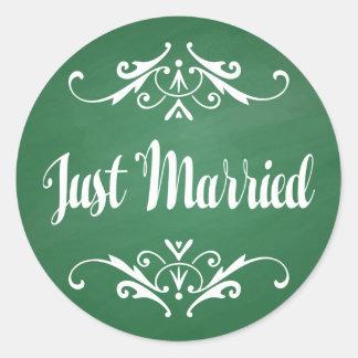 Vintage Green Chalkboard Just Married Wedding Round Sticker
