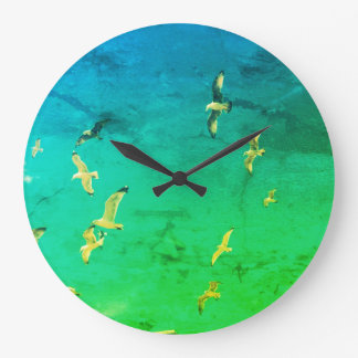 Vintage green clock with seagull on the sky