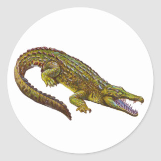 Vintage Green Crocodile Illustration Classic Round Sticker