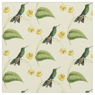 Vintage Green Crowned Brilliant Hummingbird Fabric